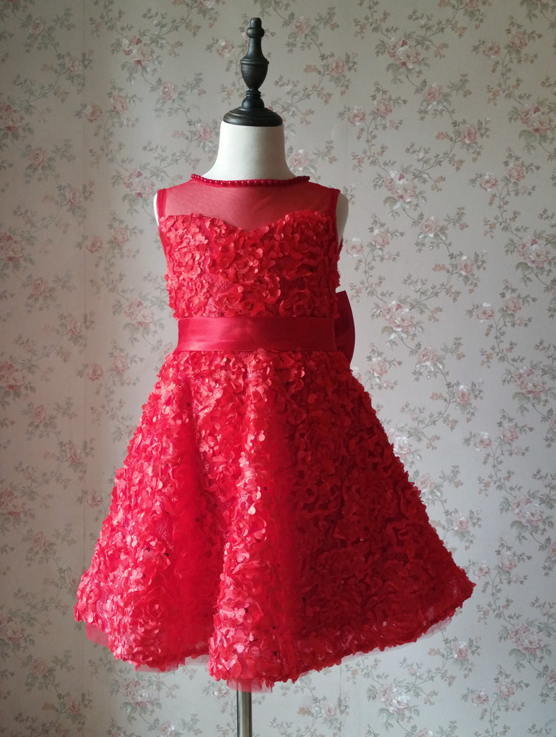 RED Flower Girl Wedding Dress Lace Bead Tea Length Red Wedding Dresses 4-16