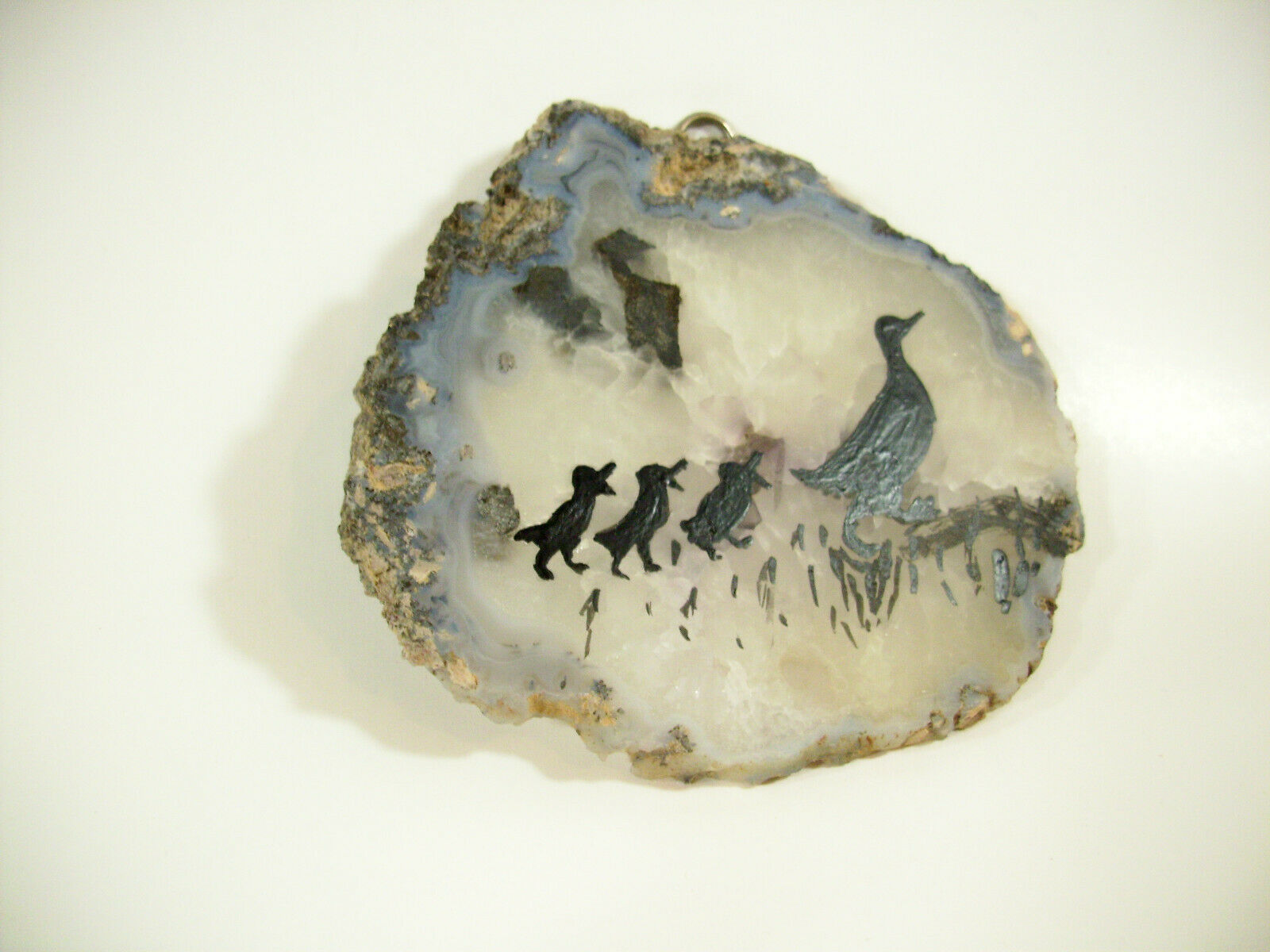 Silhouette Ducks Hand Painted on Geode Stone Slice Folk Art Wall Hanging Plaque image 2