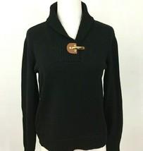 Ralph Lauren Womens Petite L Sweater Black Cotton Shawl Collar - $17.33