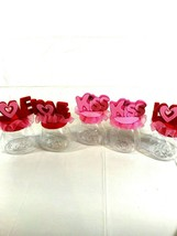 Lot Of 5 Valentine's Day Candy Treat Gift Jars Love Kiss clear bottom fe... - $16.00