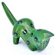 Tabaka Chigware Hand Carved Kisii Soapstone Green Shelf Cat Figurine Kenya image 4