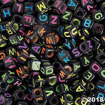 6mm Black Square Neon Alphabet Beads - Package of 400 - $8.99