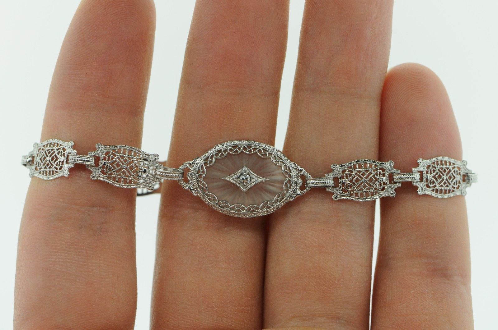 "Art Deco (ca. 1930) 10K White Gold Diamond & Etched Glass Bracelet (6 3/4"") image 2"