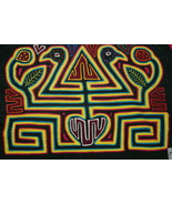 Kuna Traditional Mola Hand Stitched Applique Tree of life Birds Heart Ma... - $56.99