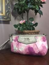 Coach Madison Pink Floral Wristlet 45433 Metallic Silver Leather Trim B22 - $48.37