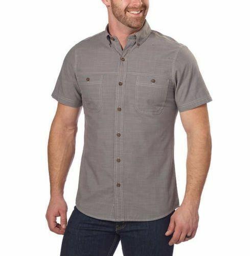 NEW G.H. Bass & Co. Men's Short Sleeve Crosshatch Woven Shirt - Pewter
