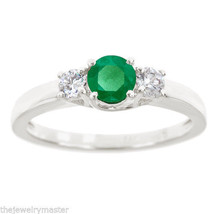 EMERALD & DIAMOND ENGAGEMENT RING 3-STONE BRILLIANT ROUND CUT 14KT WHITE... - €922,57 EUR