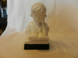 """Vintage White Ceramic Girl Reading Book Bust Figurine, 7"""" Tall - $39.60"""