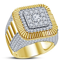 Men's Band Anniversary Ring Round Cut CZ 18k Yellow Gold Plated Pure 925... - $142.99