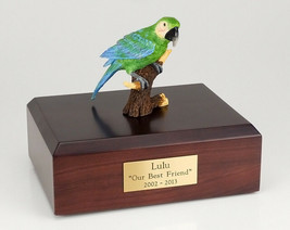 Parrot Green Figurine Bird Pet Cremation Urn Avail 3 Different Colors & ... - $169.99+