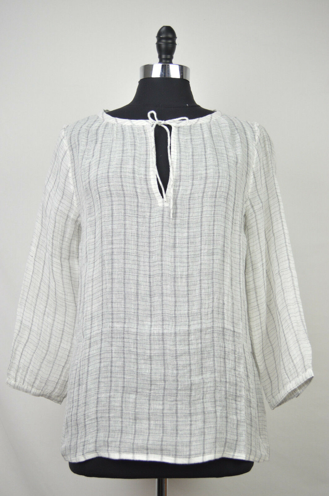 Primary image for [41 85] EILEEN FISHER NWT WHITE STRIPED WIDE NECK BOXY TOP LINEN BLOUSE XS $198
