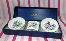 Gorgeous Vintage Royal Worcester Bone China 3pc Floral Table Set w/ Box England - $18.00