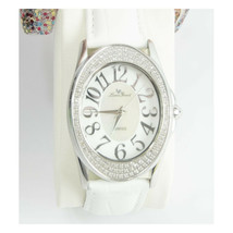 Lucien Piccard Art Deco Diamond Mother of Pearl Leather Bracelet Dress Watch - $143.06
