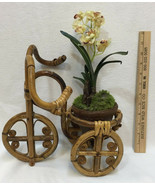 Orchid Plant w/ Bicycle Planter Bike Trike Bamboo Artificial Sullivan Fl... - $49.45