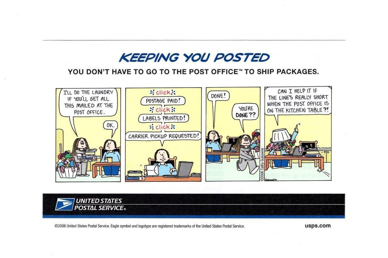"Primary image for POSTCARD-USPS  ""KEEPING YOU POSTED""-SHIPPING FROM HOME MAILING  BK9"