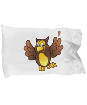 Unique Gifts Store Happy Owl - Pillow Case - $17.97