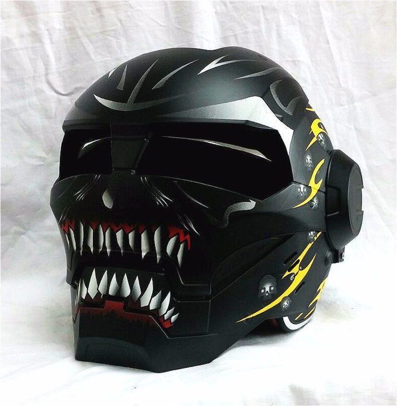 Masei 610 Meikai Hades Matt Black Yellow Motorcycle Helmet
