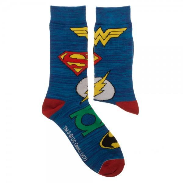 Justice League 2 Pair Blue Crew Socks