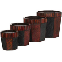 Bamboo Octagon Decorative Planters (Set of 4), Nearly Natural - €81,08 EUR