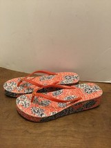 9ef46765e9d6 Tory Burch Wedge Flip Flops Sandals Leaves Blue Orange Size 10 -  19.35