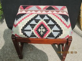 Mission Oak Style Foot Stool  Southwest Design Fabric (#16-9-14-20) - $67.32