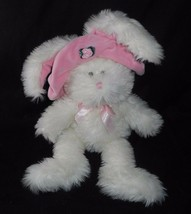VINTAGE 1998 GANZ FLOSSY WHITE BUNNY RABBIT PINK HAT STUFFED ANIMAL PLUS... - $27.70