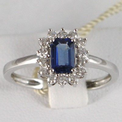18K WHITE GOLD FLOWER RING, DIAMONDS & BLUE SAPPHIRE EMERALD CUT, MADE IN ITALY