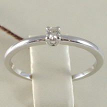White Gold Ring 750 18k, Solitaire Shank Square with Diamond, Carats 0.07 image 2