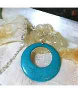 Necklace With Turquoise Donut Pendant Sterling Sliver Natural Stone Boho... - $21.28