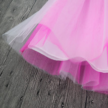 White Pink Tutu Tulle Skirt Puffy 4 Layered Party Full Circle Tulle Skirt Knee  image 5