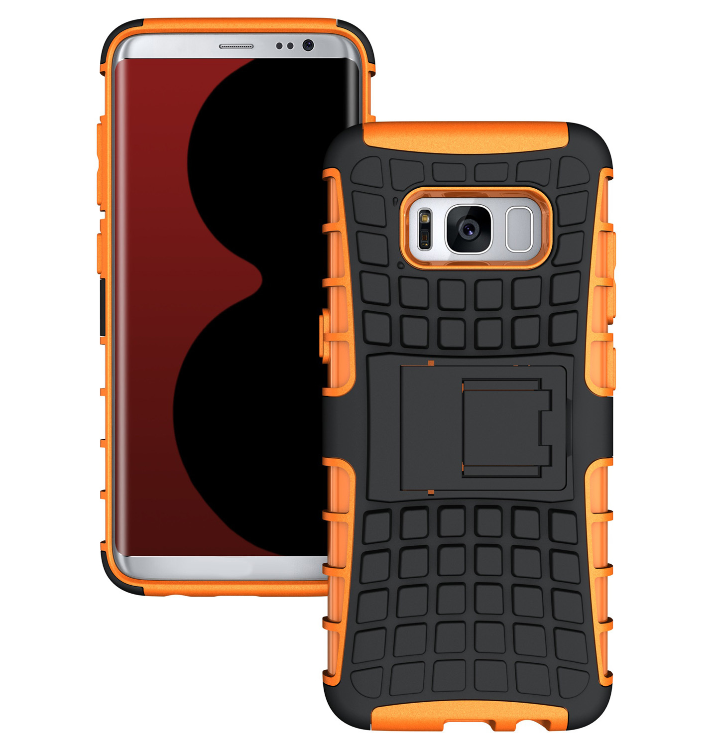 shockproof hybrid defender kickstand case cover for samsung galaxy s8 orange p20170324150330847