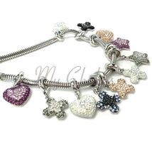 Swarovski European Hang Bracelet Charm Stainless Steel BeCharmed Pave Crystal image 3