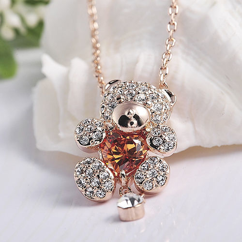 Teddy Bear Pendant Necklace With Citrine Austrian Crystal And Dangle - $9.85