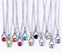 Swarovski Elements CZ Gems With Heart in Drifting Bottle Silver Necklace... - $5.99
