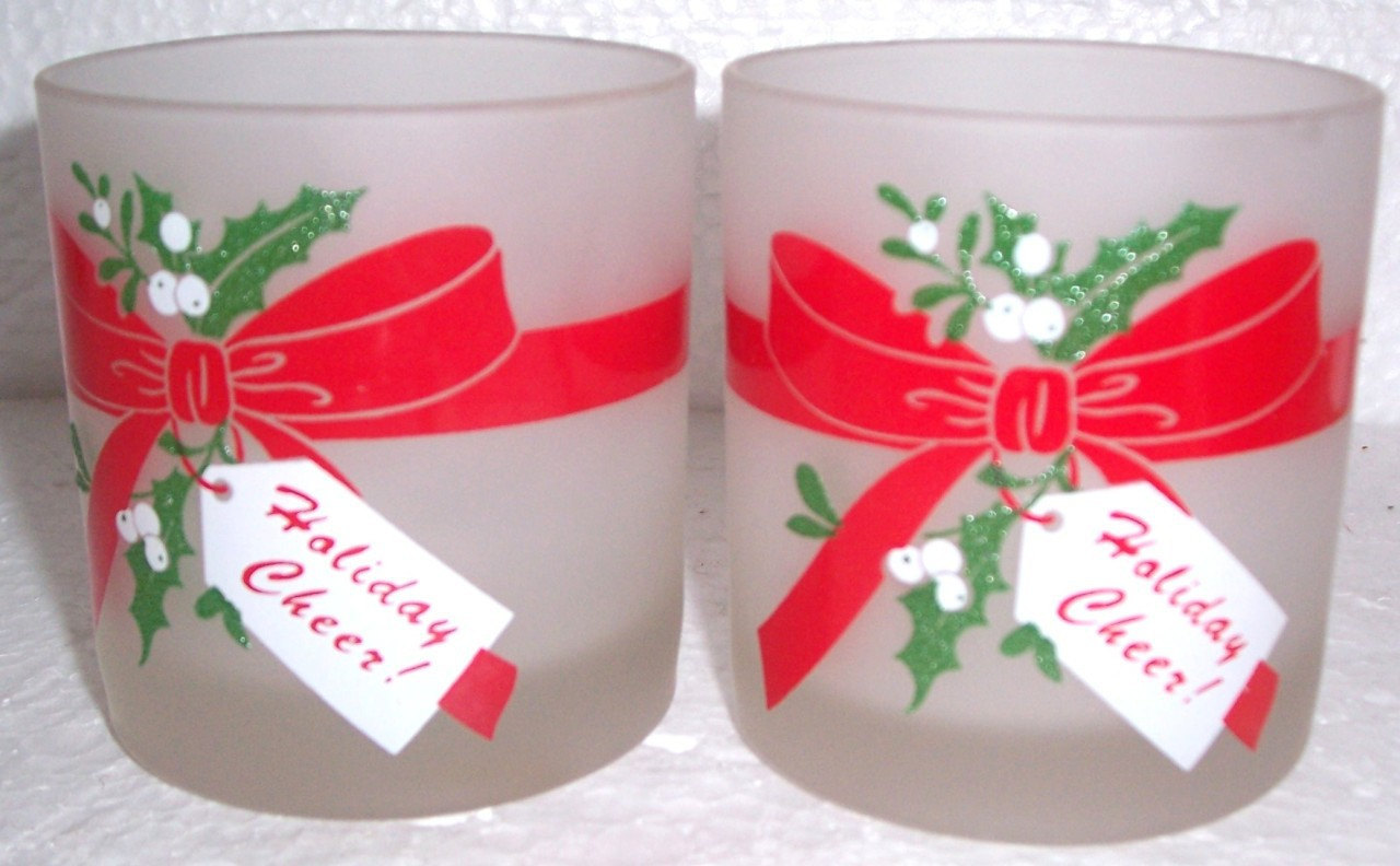 """2 Christmas """"Holiday Cheer"""" Collectible Frosted Short Glass Tumblers"""