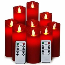 YAMATE Red Flameless Candles Battery Operated LED Candles Flickering Lig... - $28.97