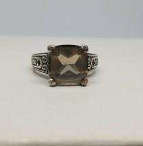 Vintage QVC Sterling Silver 925 Smoky Quartz Square Solitaire Ring Size 6 - $34.64