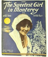 The Sweetest Girl in Monterey sheet music Large Format 1915 Piano Voice - $14.46