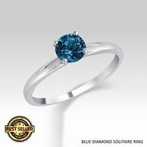 0.25 Carat Ideal Cut Genuine Blue Diamond Solitaire Ring - $159.00