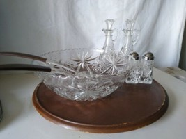 Anchor And Hocking  Early American Prescut Glass 9 Piece Salad Maker Set - $46.75