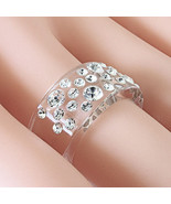 New Clear Acrylic Band Ring Large & Small Random Row Swarovski Elements ... - $22.00