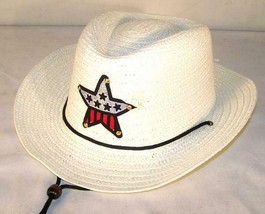 6 PC WHITE COLOR COWBOY HAT W  USA STAR child headwear children BOY cowg... - $18.04