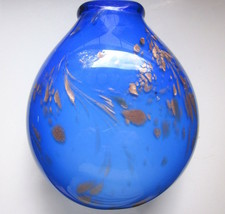 "MURANO Hand Blown Blue Art Glass Vase (Gold Copper Fleck Design/8.5"" High/5 Lbs) - $34.29"