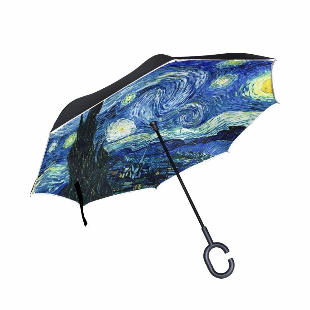 painting starry night reverse umbrella van gogh oil painting double layer inverted umbrella for