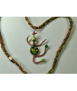 Necklace 25 Inches Kumihimo Braid Dancing Being Pendant Handmade Polymer... - $39.99