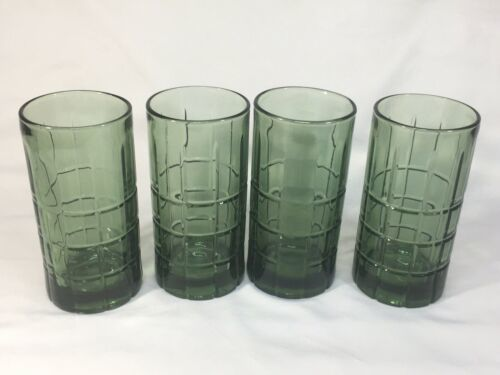 Primary image for Anchor Hocking Tartan Pattern glasses Avocado  Green  16 oz ALGT004