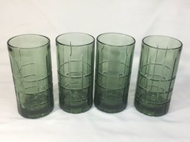 Anchor Hocking Tartan Pattern glasses Avocado  Green  16 oz ALGT004 - $43.53
