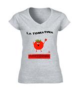 LA TOMATINA FESTIVAL VALENCIA  SPAIN - NEW COTTON GREY LADY TSHIRT  - $20.70