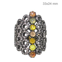 14k Gold Natural 3.85 Ct Diamond Pave Sterling Silver Ring Vintage Style... - $906.70