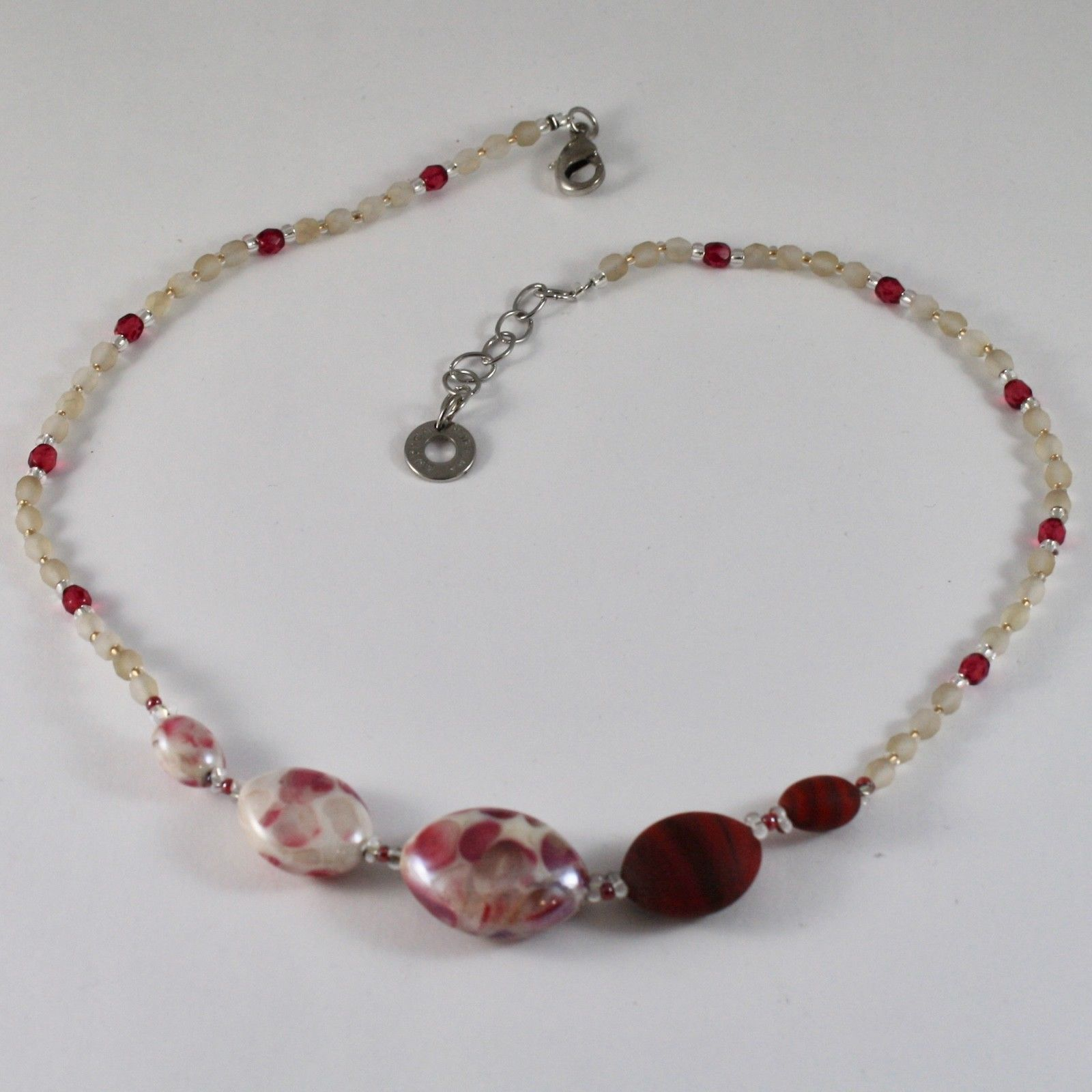 ANTICA MURRINA VENEZIA NECKLACE WITH WHITE AND RED MURANO GLASS CO925A11